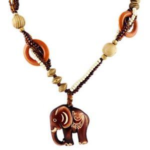 Bohemian Style Elephant Pendant Wood Necklace